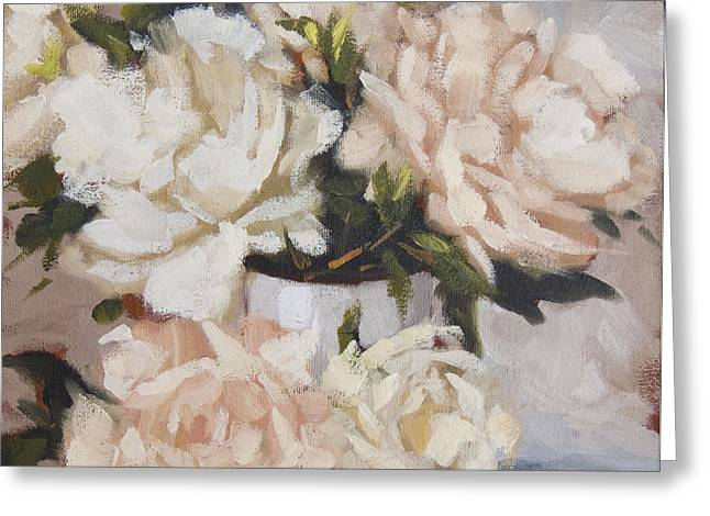 Peonies In White Vase Greeting Card