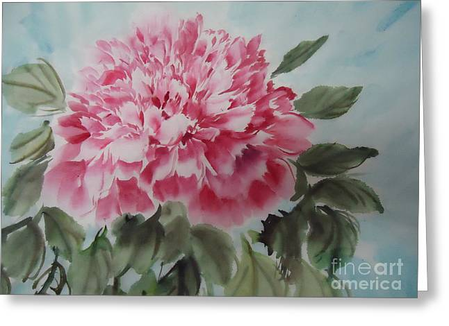 Greeting Card featuring the painting Peony --2--2012 by Dongling Sun