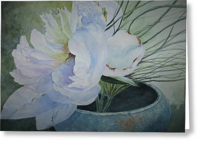 Peony And Grass Greeting Card