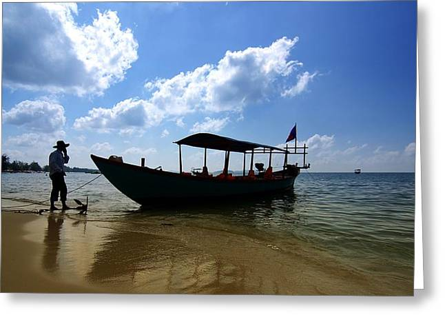 Greeting Card featuring the photograph People And Boat by Arik S Mintorogo