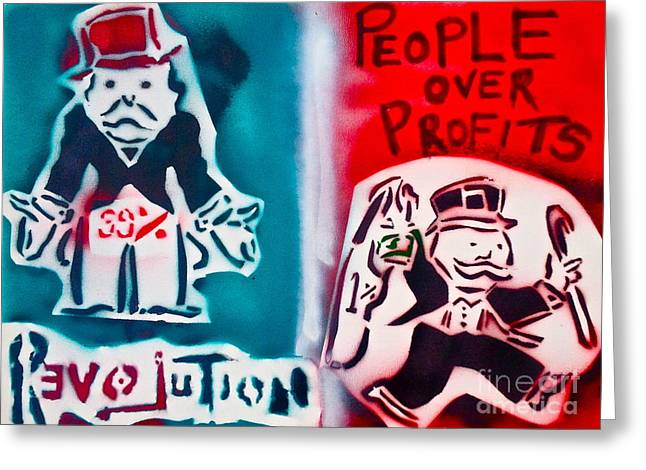 People Over Profits Greeting Card by Tony B Conscious