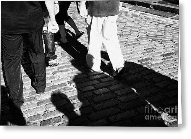 People Walking Along The Cobbled Streets Of Castle Hill Edinburgh Scotland Uk United Kingdom Greeting Card by Joe Fox