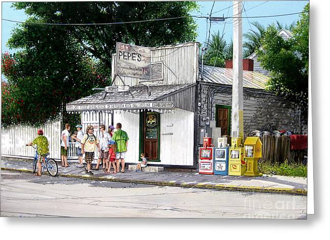 Greeting Card featuring the painting Pepe's Cafe Key West Florida by Bob  George