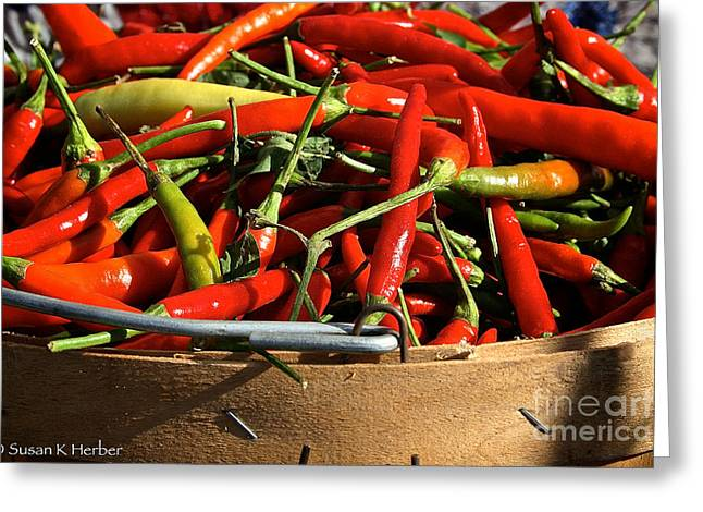 Peppers And More Peppers Greeting Card