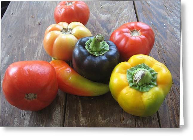 Peppers And Tomatoes Greeting Card