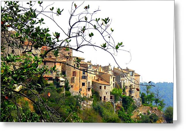 Perched Village Greeting Card by Carla Parris
