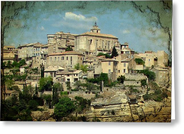 Perched Village Of Gordes Greeting Card by Carla Parris