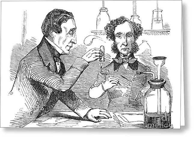 Performing The Marsh Test, 1856 Greeting Card