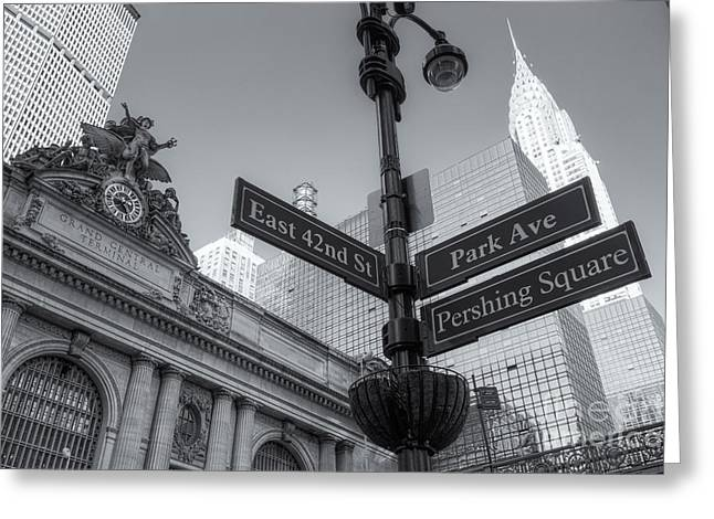 Pershing Square Skyline II Greeting Card by Clarence Holmes