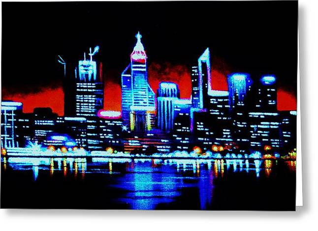 Perth By Black Light   Sold Greeting Card