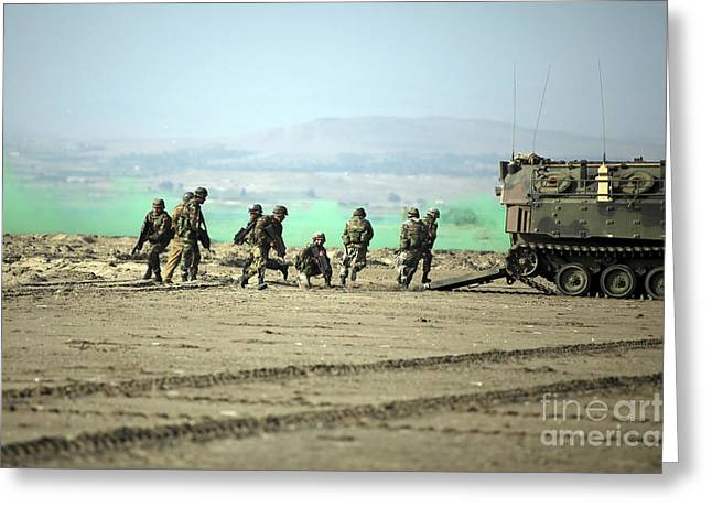 Peruvian Marines Disembark Amphibious Greeting Card by Stocktrek Images