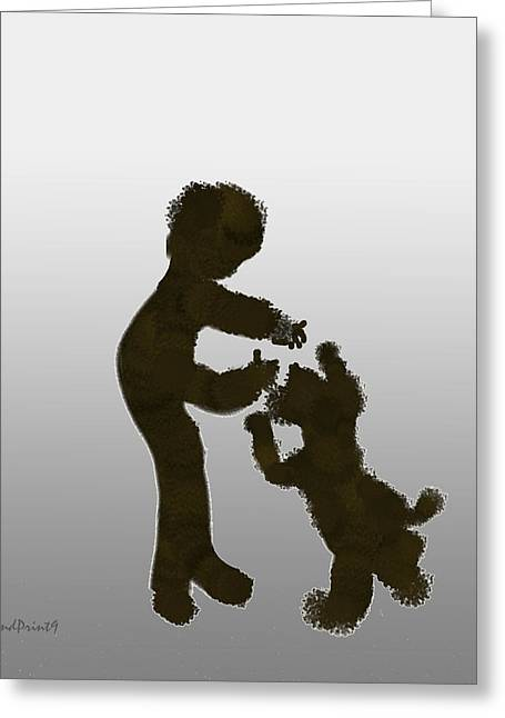 Greeting Card featuring the digital art Pet Dog by Asok Mukhopadhyay