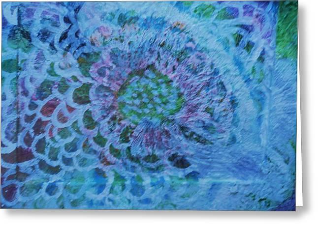 Petals On Wood Greeting Card by Anne-Elizabeth Whiteway