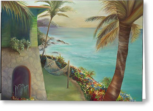 Peter Island Escape Greeting Card by Lisa Kruse