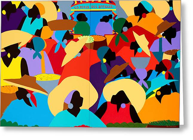 Petion-ville Market Diptych Greeting Card by Synthia SAINT JAMES