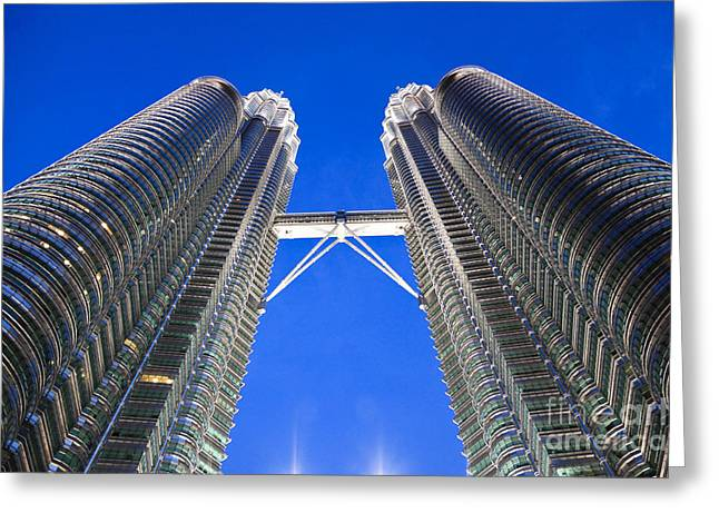 Petronas Tower Bridge Detail Greeting Card by Gualtiero Boffi