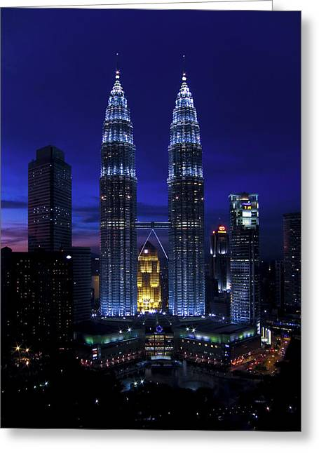 Petronas Towers In Kl Malaysia At Twilight. Greeting Card