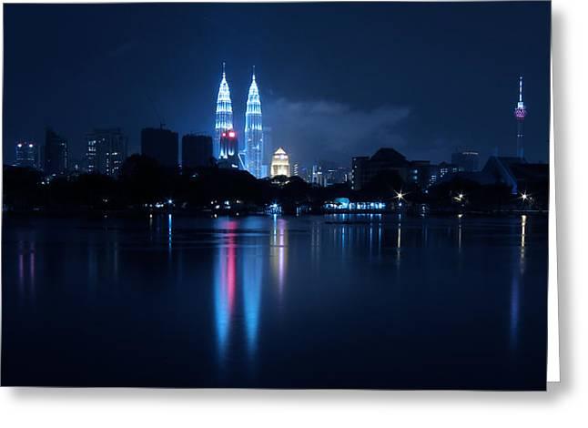 Petronas Towers Taken From Lake Titiwangsa In Kl Malaysia. Greeting Card by Zoe Ferrie