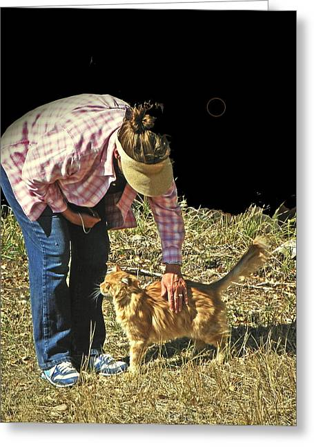 Petting The Ranch Cat Greeting Card by Lenore Senior and Dawn Senior-Trask