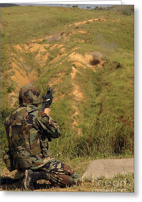 Petty Officer Fires Off A 40mm Highly Greeting Card by Stocktrek Images