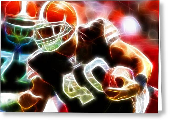Peyton Hillis Magical Greeting Card by Paul Van Scott