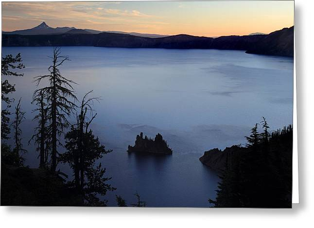 Phantom Ship Sunrise At Crater Lake Greeting Card by Pierre Leclerc Photography
