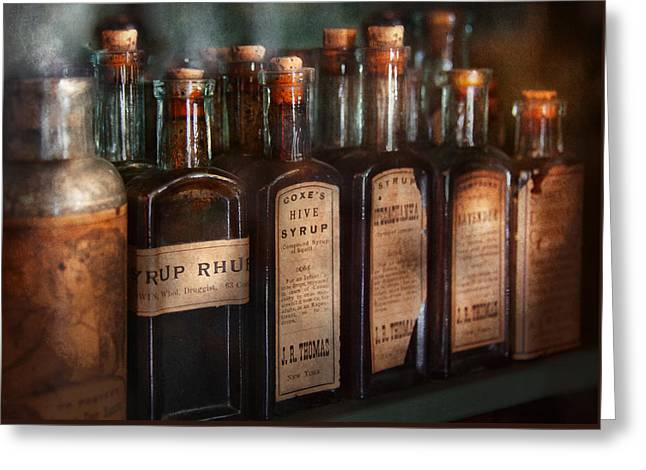 Pharmacy - Syrup Selection  Greeting Card by Mike Savad