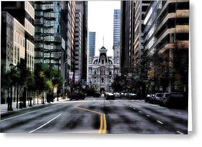 Philadelphia - Market Street Facing City Hall Greeting Card