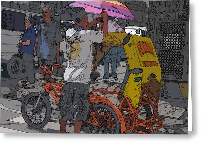 Philippines 870 Bicycle Taxi Greeting Card by Rolf Bertram