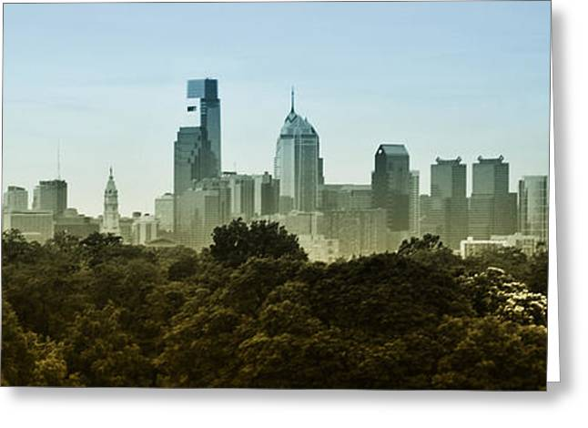 Philly Panorama Greeting Card by Bill Cannon
