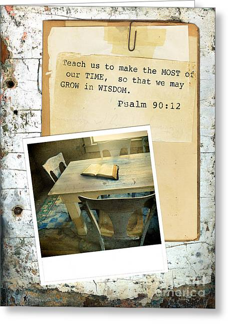 Photo Of Bible On Table With Scripture Verse Greeting Card by Jill Battaglia
