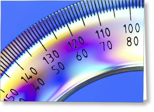 Photoelastic Stress Of A Protractor Greeting Card by Pasieka