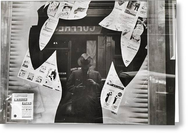 Photographers Reflection In A Cut-out Greeting Card by Maynard Owen Williams