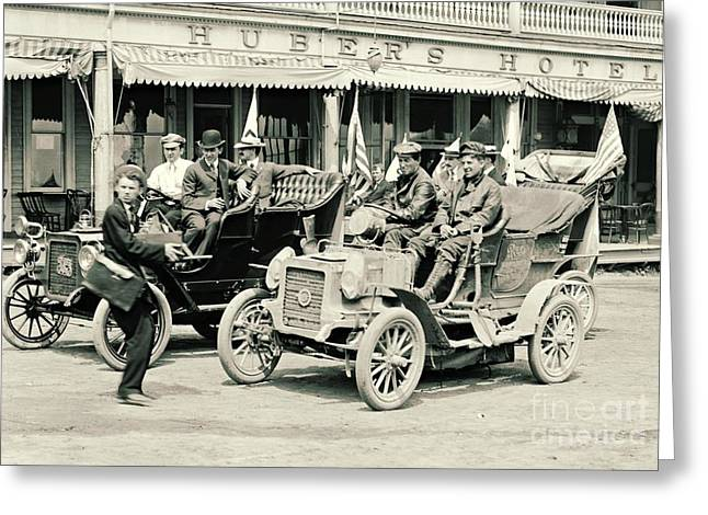 Photographing The Reo Mountaineer 1905 Greeting Card by Padre Art
