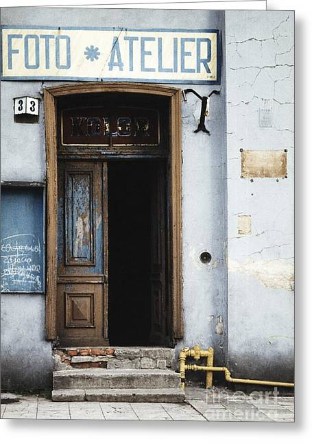 Photography Studio Entrance Greeting Card by Agnieszka Kubica