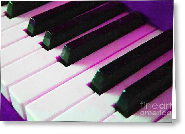 Piano Keys . V2 . Purple Greeting Card by Wingsdomain Art and Photography