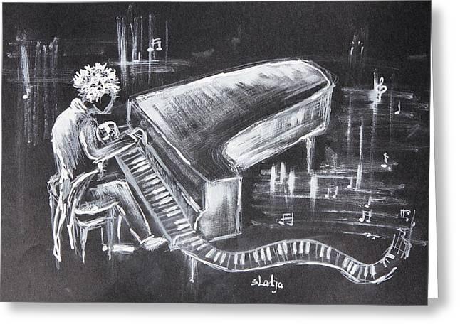 Piano Man Greeting Card by Sladjana Lazarevic