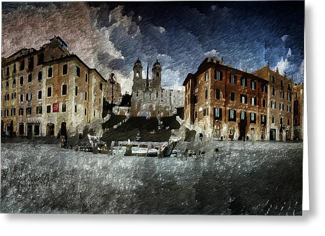 Greeting Card featuring the digital art Piazza Di Spagna by Andrea Barbieri