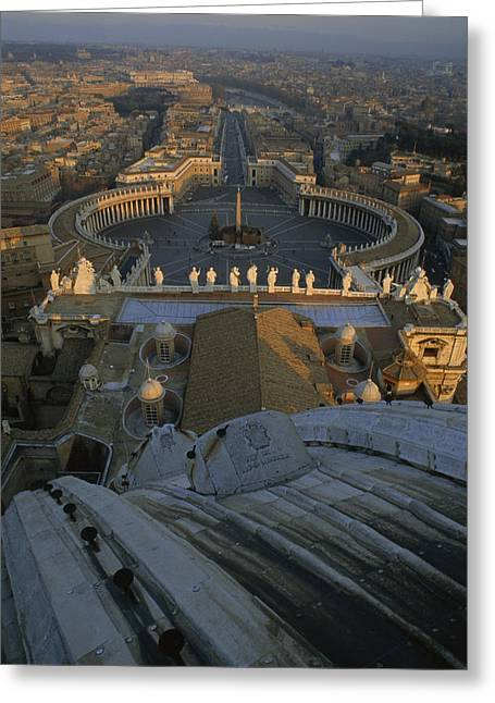 Piazza San Pietro As Seen From The Dome Greeting Card by James L. Stanfield