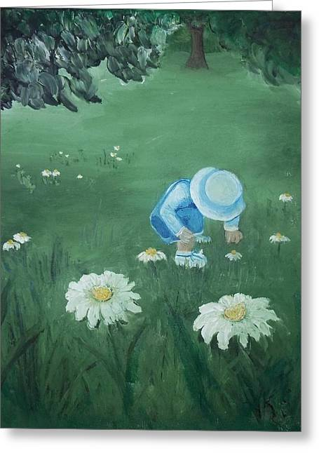 Greeting Card featuring the painting Picking Flowers by Angela Stout