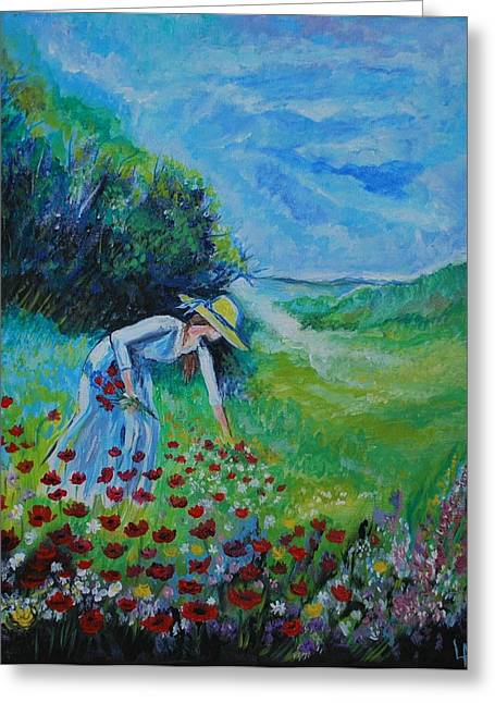 Greeting Card featuring the painting Picking Flowers by Leslie Allen
