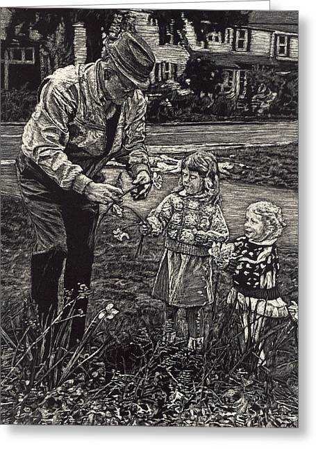 Picking Flowers With Grandpa Greeting Card by Robert Goudreau