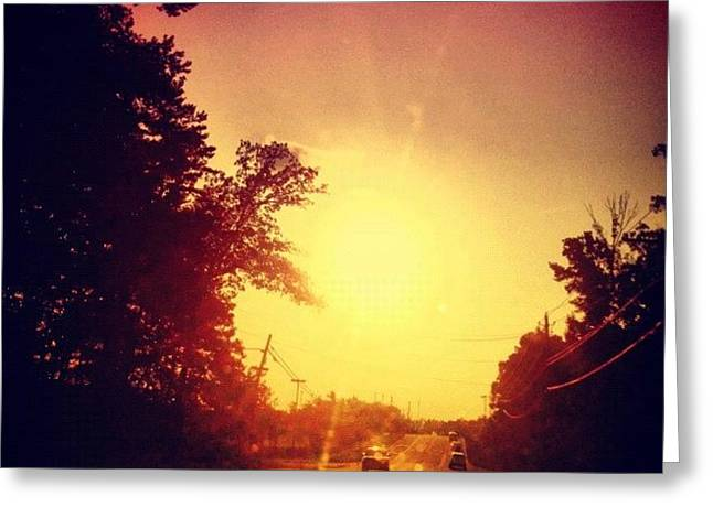 Picking Up Dinner #driving #sunset #sun Greeting Card by Katie Williams