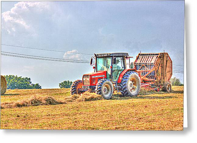 Picking Up Hay Greeting Card by Barry Jones