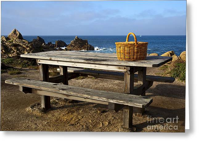 Picnic Basket On Wooden Picnic Table Greeting Card