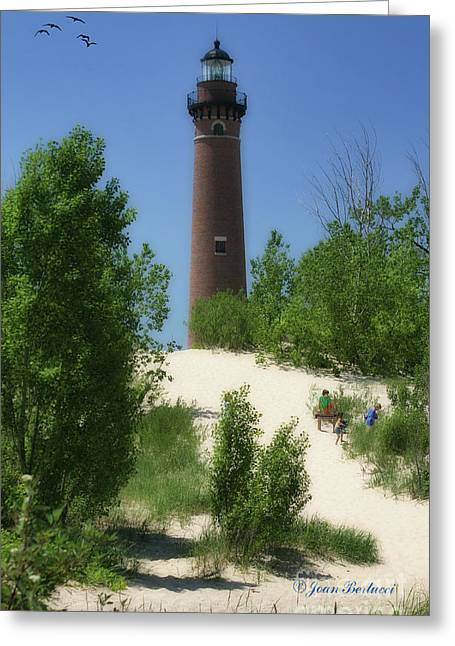 Greeting Card featuring the photograph Picnic By The Lighthouse by Joan Bertucci
