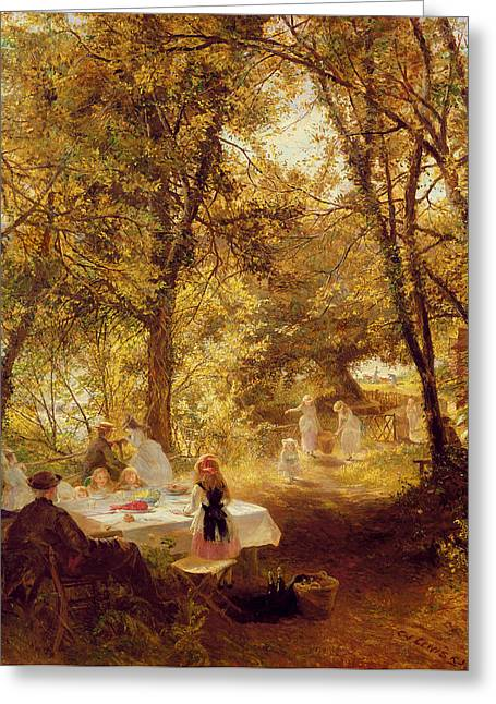 Picnic Greeting Card by Charles James Lewis