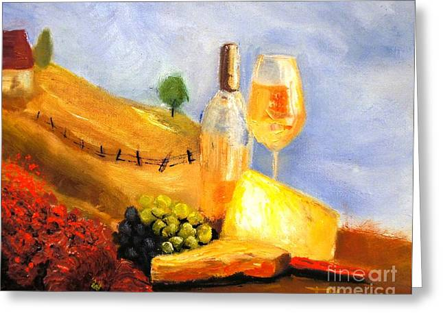 Picnic In The Vineyard Greeting Card by Therese Alcorn