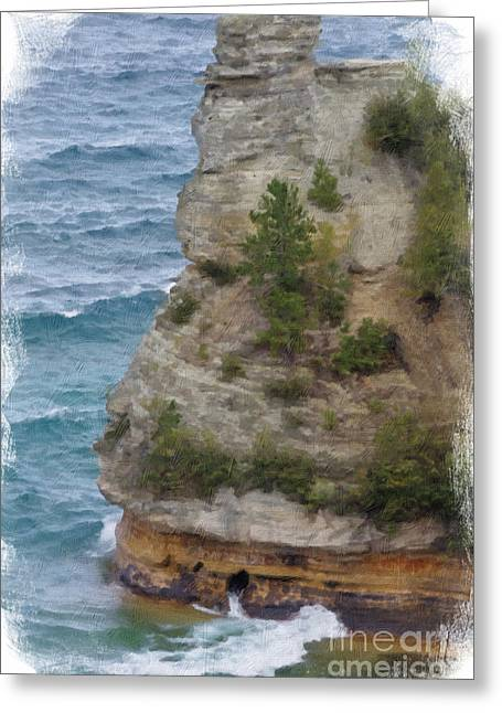 Greeting Card featuring the photograph Pictured Rocks In Oil by Deniece Platt