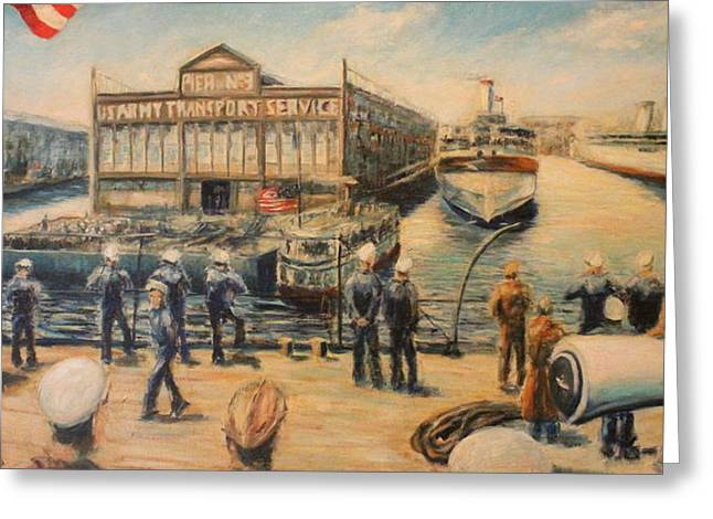 Pier 3  The Us Army Transport Service Greeting Card by Daniel W Green